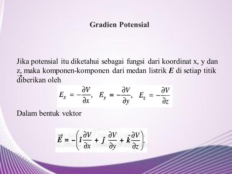 Gradien Potensial Jika potensial itu diketahui sebagai fungsi dari koordinat x, y dan z, maka komponen-komponen dari medan listrik E di setiap titik d