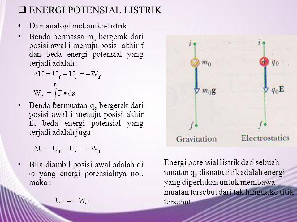  ENERGI POTENSIAL LISTRIK Dari analogi mekanika-listrik : Benda bermassa m o bergerak dari posisi awal i menuju posisi akhir f dan beda energi potens