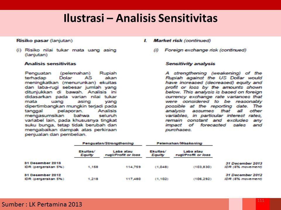 Ilustrasi – Analisis Sensitivitas 111 Sumber : LK Pertamina 2013
