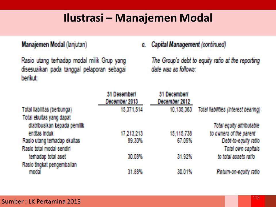 Ilustrasi – Manajemen Modal 118 Sumber : LK Pertamina 2013