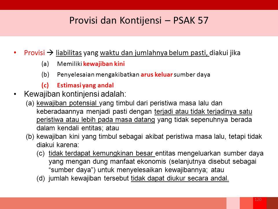 Provisi dan Kontijensi – PSAK 57 Provisi  liabilitas yang waktu dan jumlahnya belum pasti, diakui jika (a)Memiliki kewajiban kini (b)Penyelesaian men
