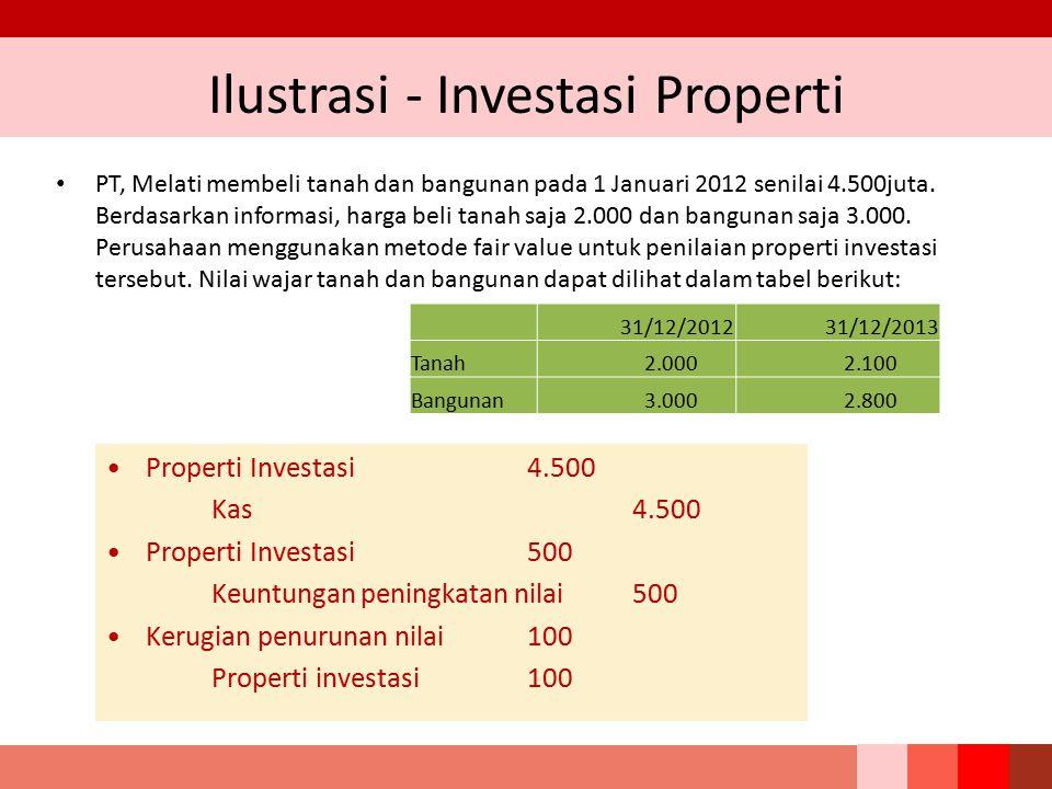 Ilustrasi - Investasi Properti PT, Melati membeli tanah dan bangunan pada 1 Januari 2012 senilai 4.500juta. Berdasarkan informasi, harga beli tanah sa