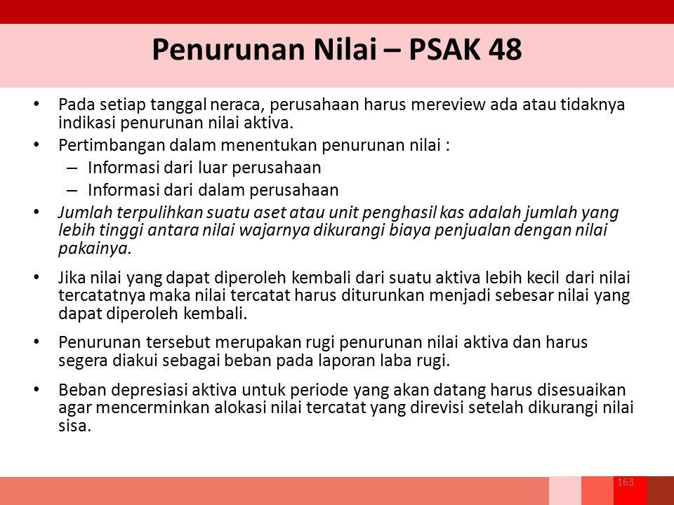 Penurunan Nilai – PSAK 48 Pada setiap tanggal neraca, perusahaan harus mereview ada atau tidaknya indikasi penurunan nilai aktiva. Pertimbangan dalam