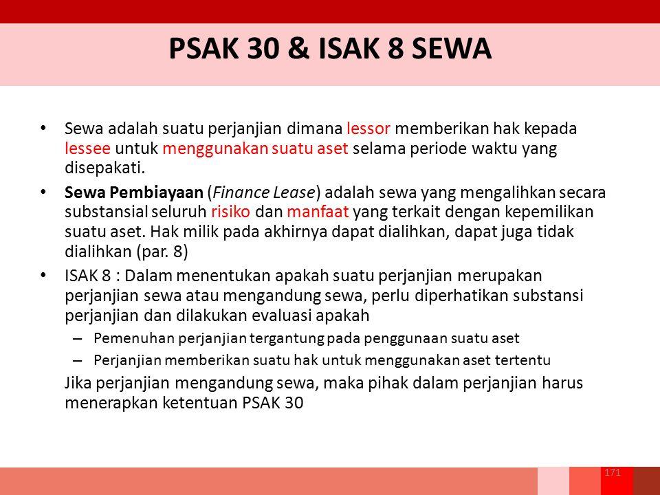 PSAK 30 & ISAK 8 SEWA Sewa adalah suatu perjanjian dimana lessor memberikan hak kepada lessee untuk menggunakan suatu aset selama periode waktu yang d