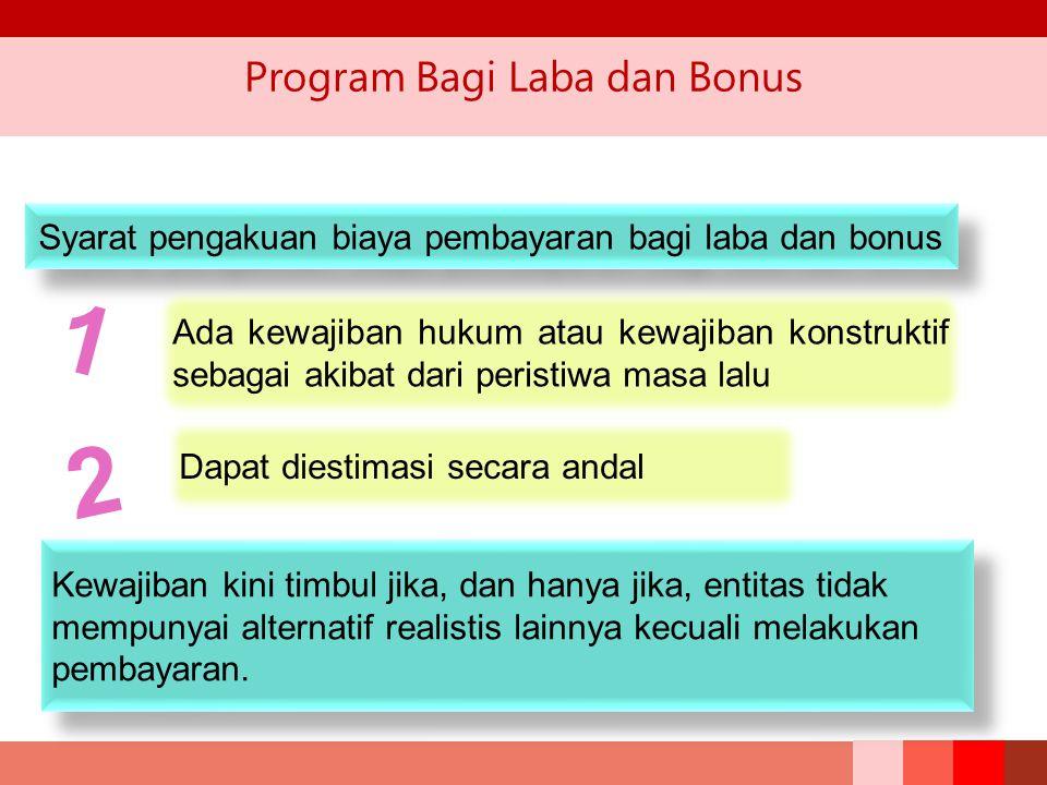 Program Bagi Laba dan Bonus Syarat pengakuan biaya pembayaran bagi laba dan bonus 1 Ada kewajiban hukum atau kewajiban konstruktif sebagai akibat dari