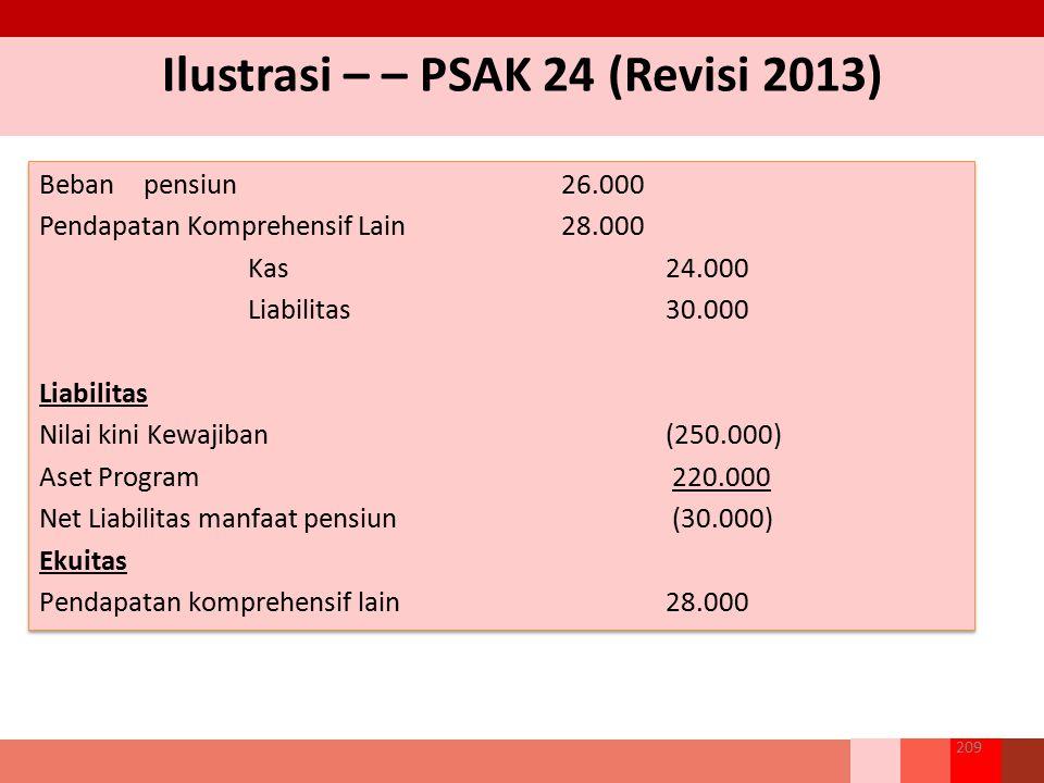 Ilustrasi – – PSAK 24 (Revisi 2013) 209 Bebanpensiun26.000 Pendapatan Komprehensif Lain28.000 Kas24.000 Liabilitas30.000 Liabilitas Nilai kini Kewajib