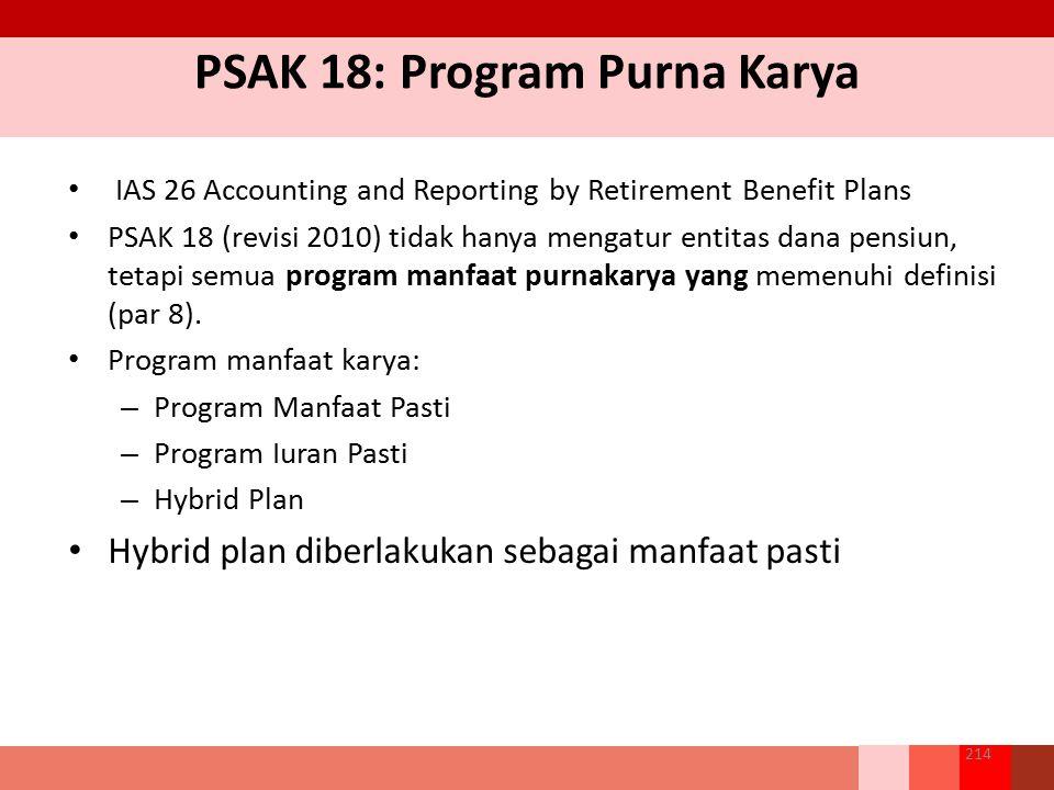 PSAK 18: Program Purna Karya IAS 26 Accounting and Reporting by Retirement Benefit Plans PSAK 18 (revisi 2010) tidak hanya mengatur entitas dana pensi