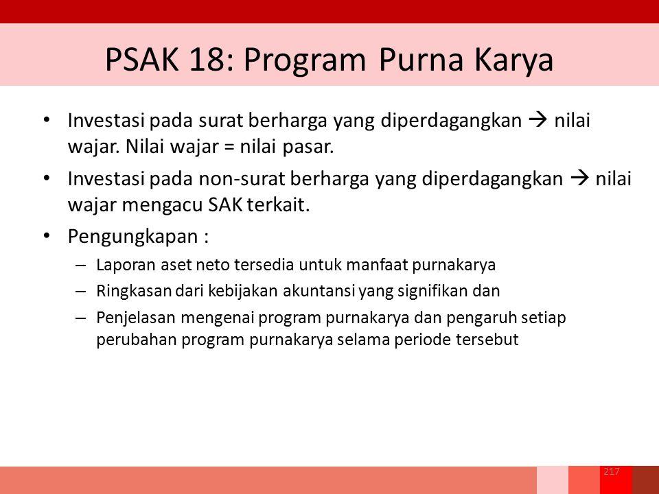 PSAK 18: Program Purna Karya Investasi pada surat berharga yang diperdagangkan  nilai wajar. Nilai wajar = nilai pasar. Investasi pada non‐surat berh