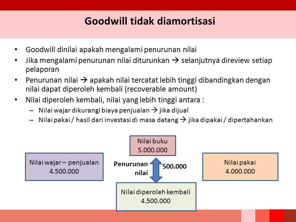 Goodwill tidak diamortisasi Goodwill dinilai apakah mengalami penurunan nilai Jika mengalami penurunan nilai diturunkan  selanjutnya direview setiap