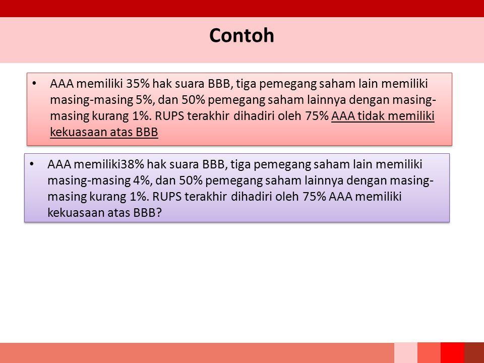 Contoh AAA memiliki 35% hak suara BBB, tiga pemegang saham lain memiliki masing-masing 5%, dan 50% pemegang saham lainnya dengan masing- masing kurang