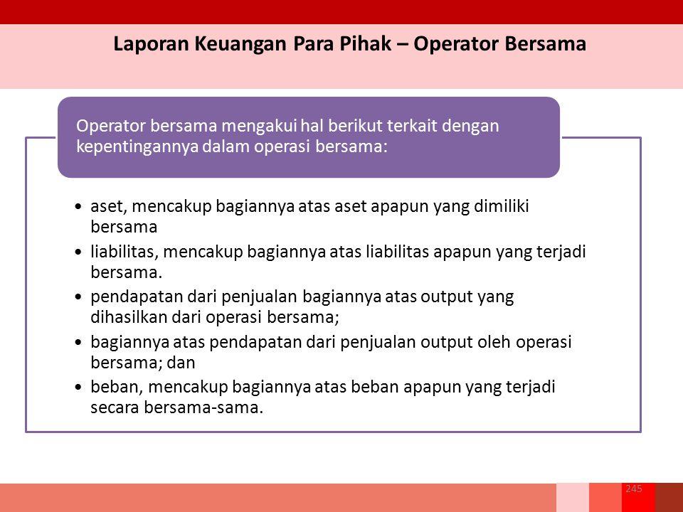 Laporan Keuangan Para Pihak – Operator Bersama 245 aset, mencakup bagiannya atas aset apapun yang dimiliki bersama liabilitas, mencakup bagiannya atas