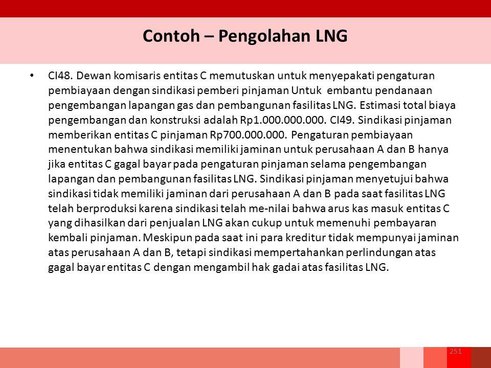 Contoh – Pengolahan LNG CI48. Dewan komisaris entitas C memutuskan untuk menyepakati pengaturan pembiayaan dengan sindikasi pemberi pinjaman Untuk emb