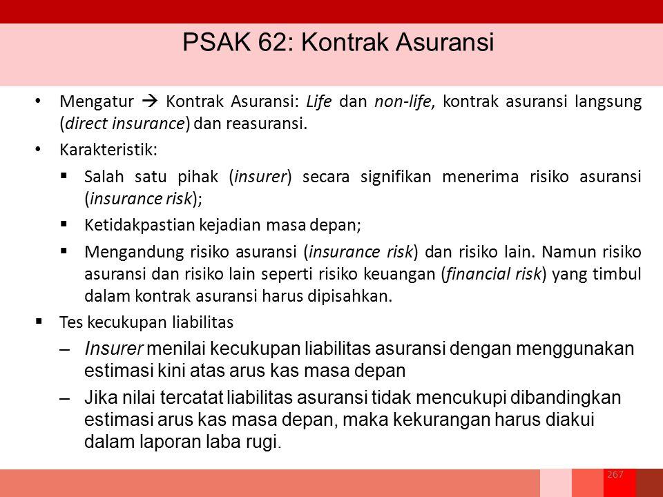 PSAK 62: Kontrak Asuransi 267 Mengatur  Kontrak Asuransi: Life dan non-life, kontrak asuransi langsung (direct insurance) dan reasuransi. Karakterist