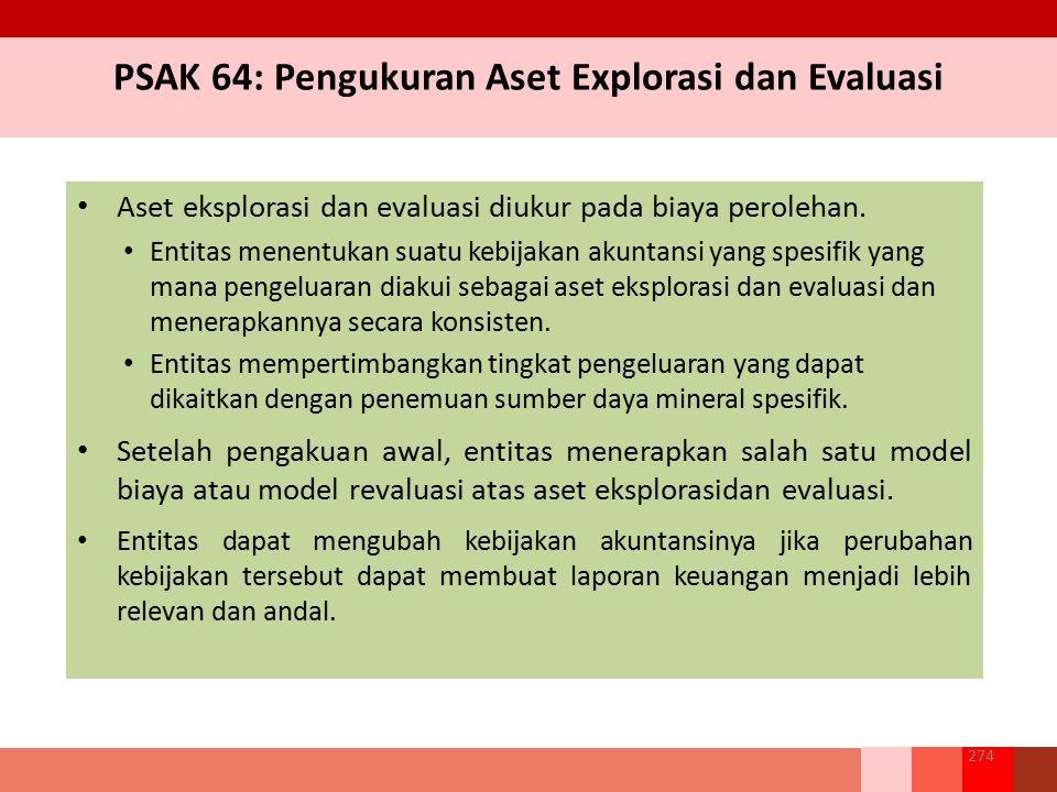 PSAK 64: Pengukuran Aset Explorasi dan Evaluasi Aset eksplorasi dan evaluasi diukur pada biaya perolehan. Entitas menentukan suatu kebijakan akuntansi