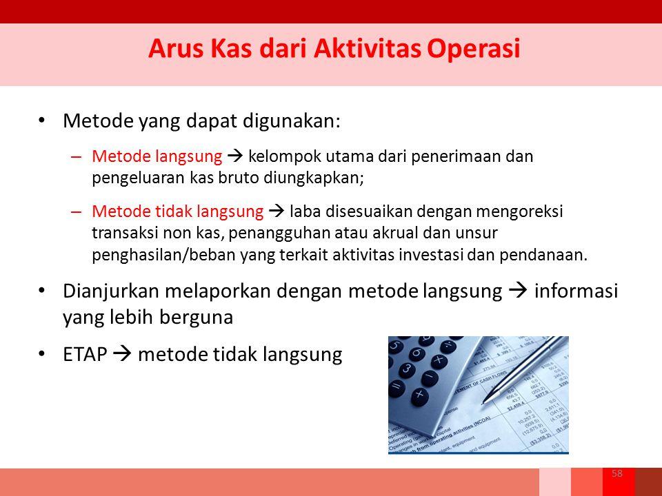 Arus Kas dari Aktivitas Operasi Metode yang dapat digunakan: – Metode langsung  kelompok utama dari penerimaan dan pengeluaran kas bruto diungkapkan;