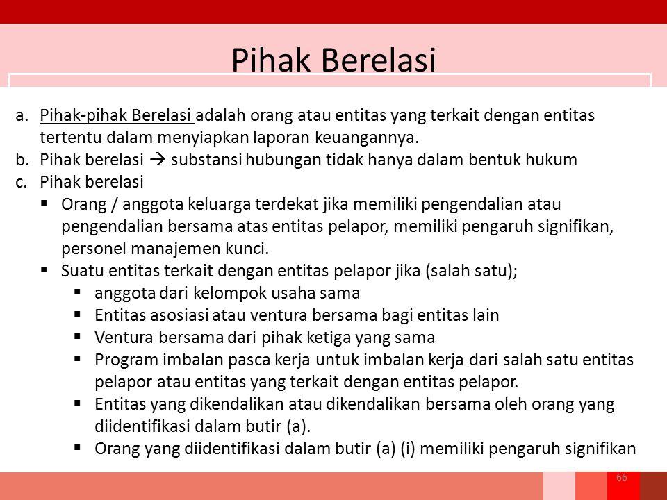 Pihak Berelasi 66 a.Pihak-pihak Berelasi adalah orang atau entitas yang terkait dengan entitas tertentu dalam menyiapkan laporan keuangannya. b.Pihak