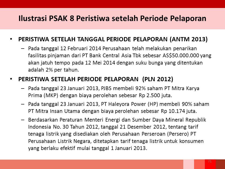 Ilustrasi PSAK 8 Peristiwa setelah Periode Pelaporan PERISTIWA SETELAH TANGGAL PERIODE PELAPORAN (ANTM 2013) – Pada tanggal 12 Februari 2014 Perusahaa