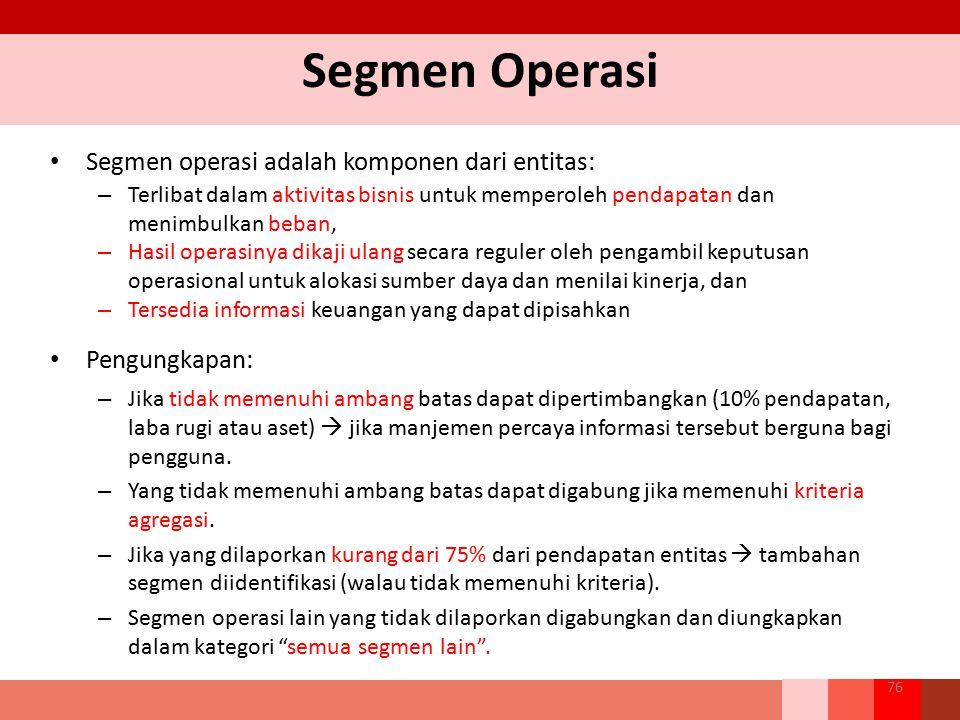 Segmen Operasi Segmen operasi adalah komponen dari entitas: – Terlibat dalam aktivitas bisnis untuk memperoleh pendapatan dan menimbulkan beban, – Has