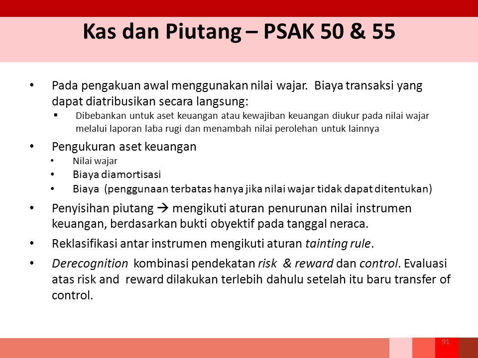 Kas dan Piutang – PSAK 50 & 55 Pada pengakuan awal menggunakan nilai wajar. Biaya transaksi yang dapat diatribusikan secara langsung:  Dibebankan unt