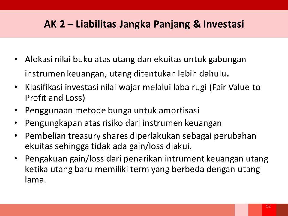 AK 2 – Liabilitas Jangka Panjang & Investasi Alokasi nilai buku atas utang dan ekuitas untuk gabungan instrumen keuangan, utang ditentukan lebih dahul