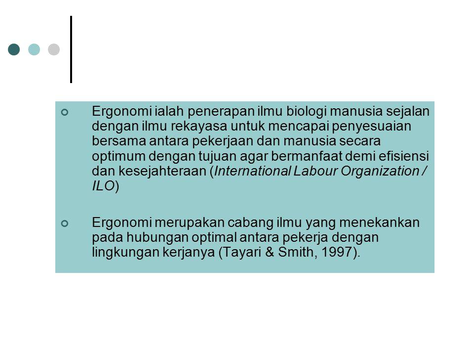 Ergonomi ialah penerapan ilmu biologi manusia sejalan dengan ilmu rekayasa untuk mencapai penyesuaian bersama antara pekerjaan dan manusia secara opti