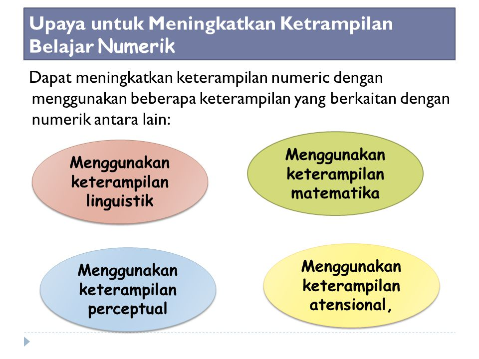 Upaya untuk Meningkatkan Ketrampilan Belajar Numerik Dapat meningkatkan keterampilan numeric dengan menggunakan beberapa keterampilan yang berkaitan dengan numerik antara lain: Menggunakan keterampilan linguistik Menggunakan keterampilan perceptual Menggunakan keterampilan matematika Menggunakan keterampilan atensional,