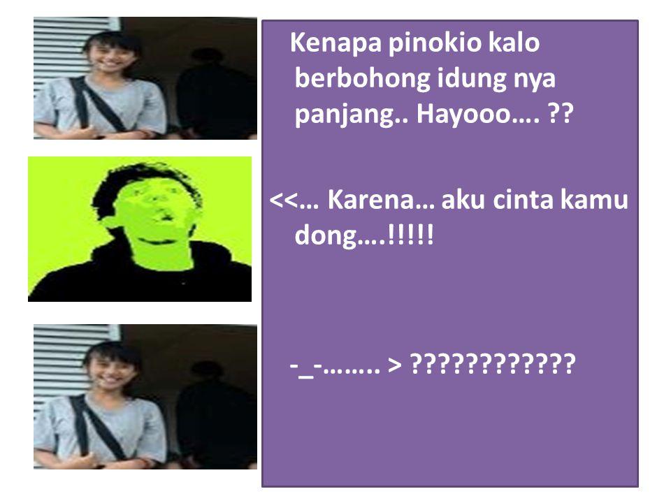 Kenapa pinokio kalo berbohong idung nya panjang.. Hayooo…. ?? <<… Karena… aku cinta kamu dong….!!!!! -_-…….. > ????????????