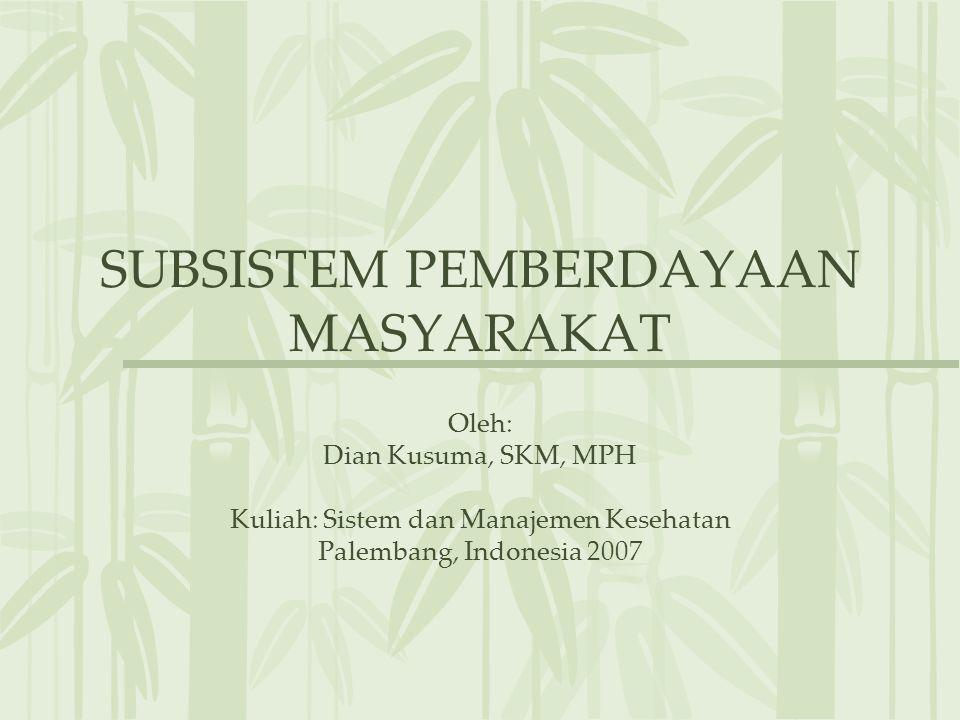 SUBSISTEM PEMBERDAYAAN MASYARAKAT Oleh: Dian Kusuma, SKM, MPH Kuliah: Sistem dan Manajemen Kesehatan Palembang, Indonesia 2007