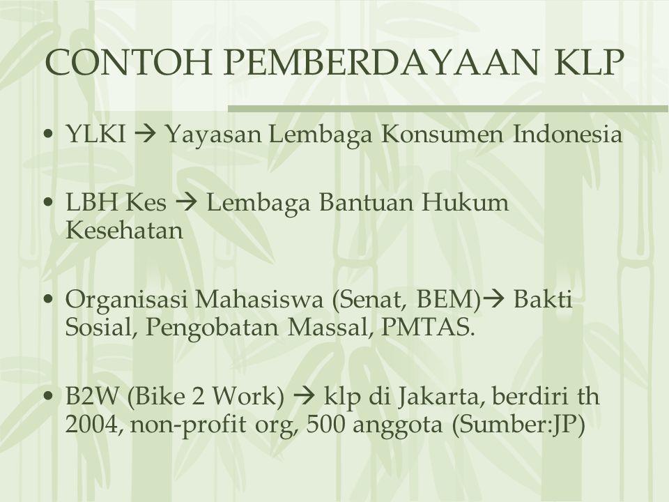 CONTOH PEMBERDAYAAN KLP YLKI  Yayasan Lembaga Konsumen Indonesia LBH Kes  Lembaga Bantuan Hukum Kesehatan Organisasi Mahasiswa (Senat, BEM)  Bakti