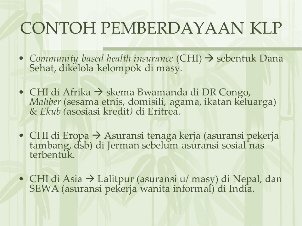 CONTOH PEMBERDAYAAN KLP Community-based health insurance (CHI)  sebentuk Dana Sehat, dikelola kelompok di masy. CHI di Afrika  skema Bwamanda di DR