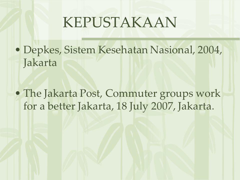 KEPUSTAKAAN Depkes, Sistem Kesehatan Nasional, 2004, Jakarta The Jakarta Post, Commuter groups work for a better Jakarta, 18 July 2007, Jakarta.