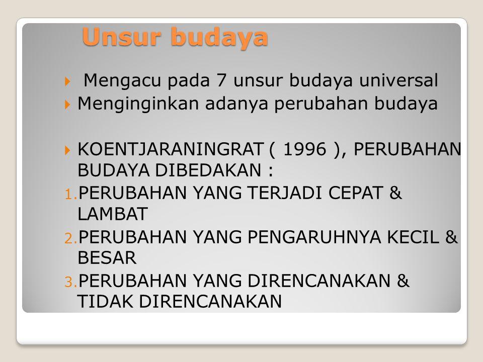 Unsur budaya  Mengacu pada 7 unsur budaya universal  Menginginkan adanya perubahan budaya  KOENTJARANINGRAT ( 1996 ), PERUBAHAN BUDAYA DIBEDAKAN : 1.