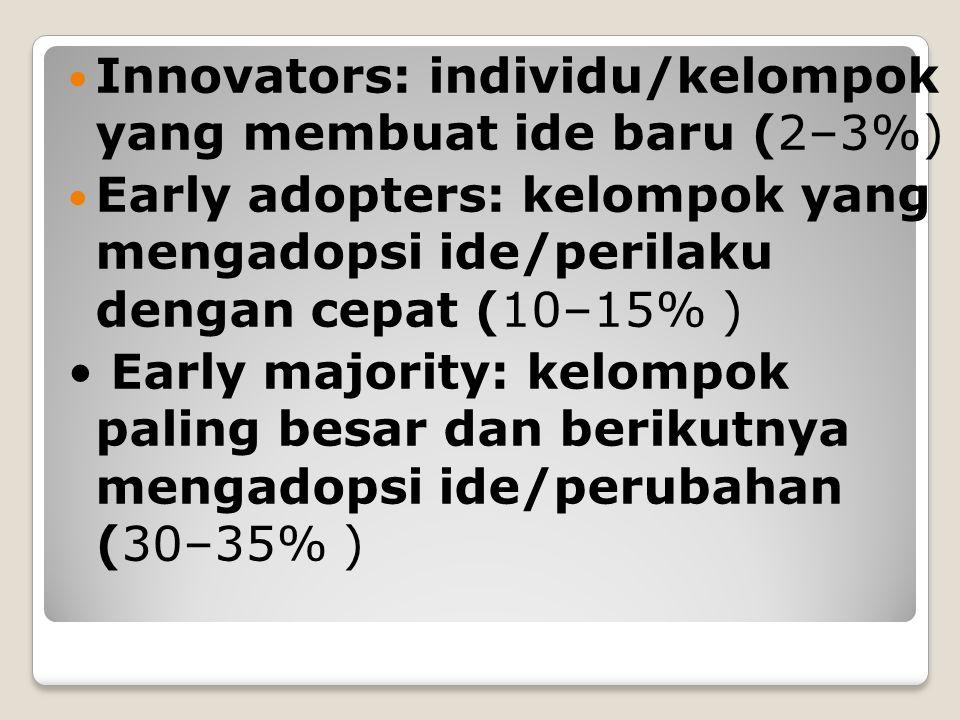 Innovators: individu/kelompok yang membuat ide baru (2–3%) Early adopters: kelompok yang mengadopsi ide/perilaku dengan cepat (10–15% ) Early majority: kelompok paling besar dan berikutnya mengadopsi ide/perubahan (30–35% )