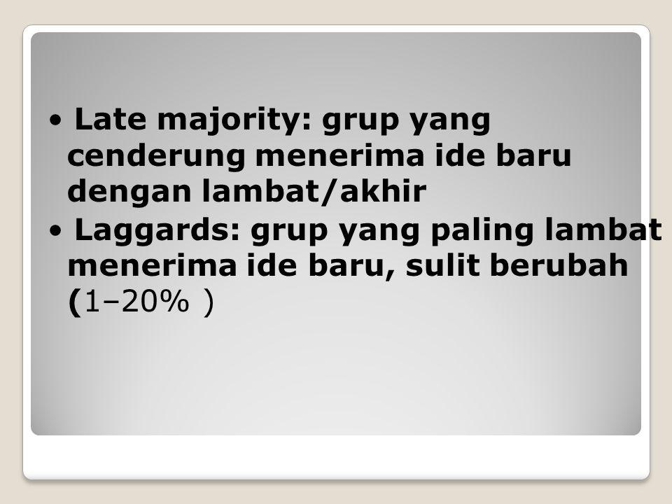 Late majority: grup yang cenderung menerima ide baru dengan lambat/akhir Laggards: grup yang paling lambat menerima ide baru, sulit berubah (1–20% )
