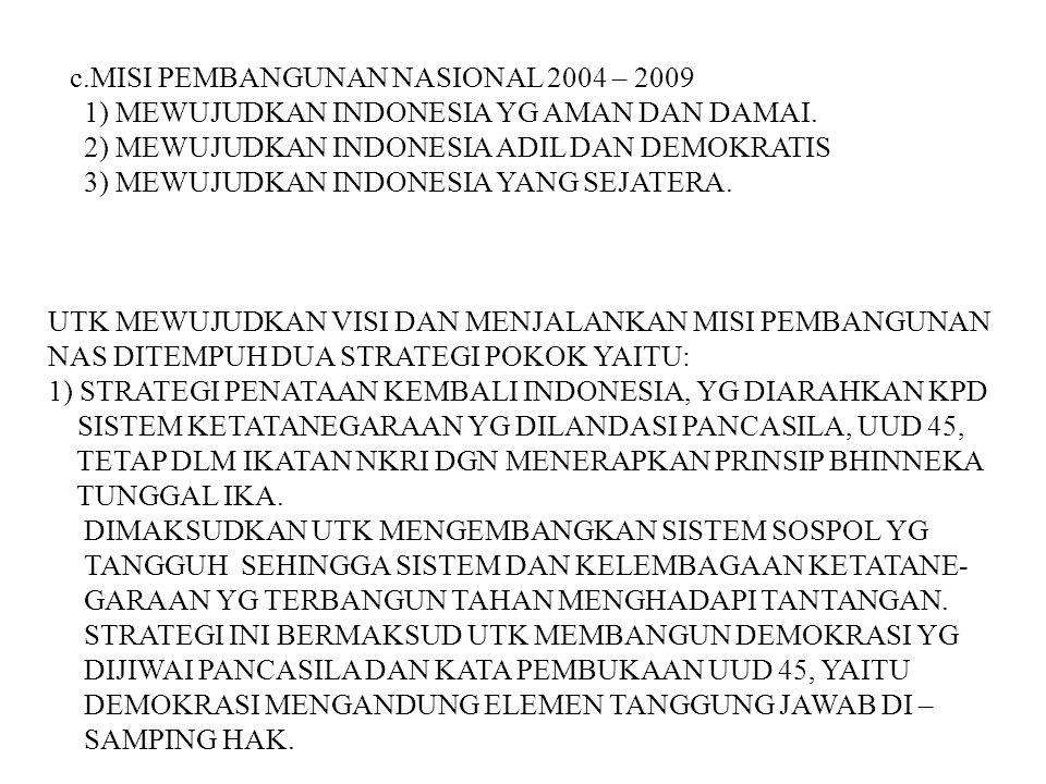 c.MISI PEMBANGUNAN NASIONAL 2004 – 2009 1) MEWUJUDKAN INDONESIA YG AMAN DAN DAMAI. 2) MEWUJUDKAN INDONESIA ADIL DAN DEMOKRATIS 3) MEWUJUDKAN INDONESIA