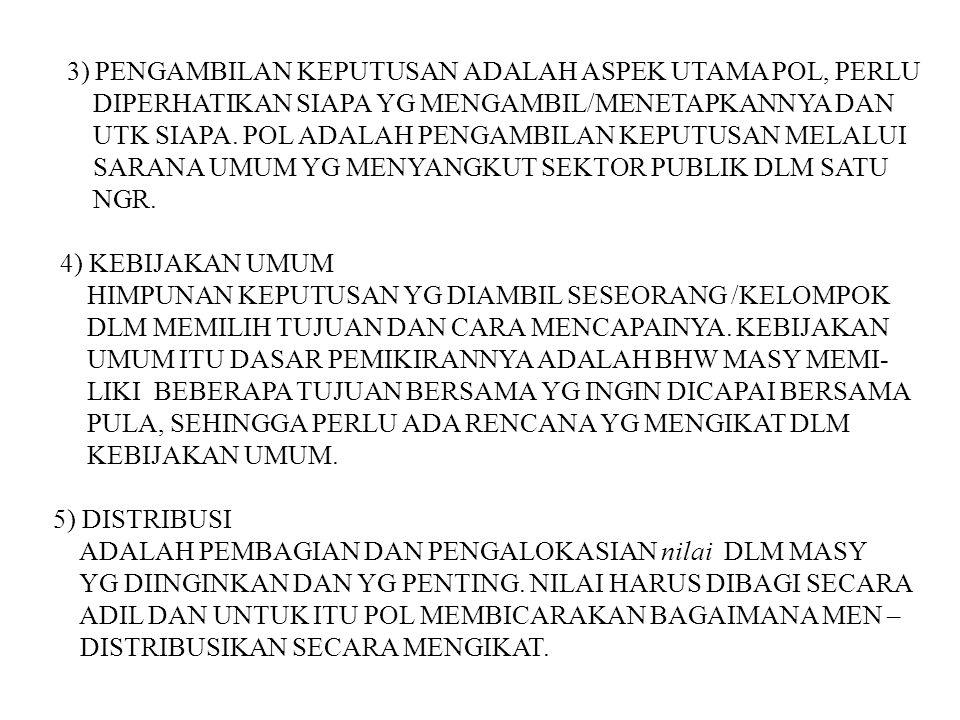 3) PENGAMBILAN KEPUTUSAN ADALAH ASPEK UTAMA POL, PERLU DIPERHATIKAN SIAPA YG MENGAMBIL/MENETAPKANNYA DAN UTK SIAPA. POL ADALAH PENGAMBILAN KEPUTUSAN M