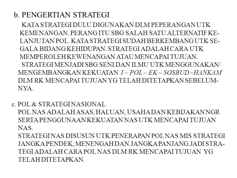 2) STRATEGI PEMBANGUNAN INDONESIA YG DIARAHKAN UTK MEM- BANGUN INDONESIA DISEGALA BIDANG SBG PERWUJUDAN AMANAT YG DIMUAT DLM KATA PEMBUKAAN.