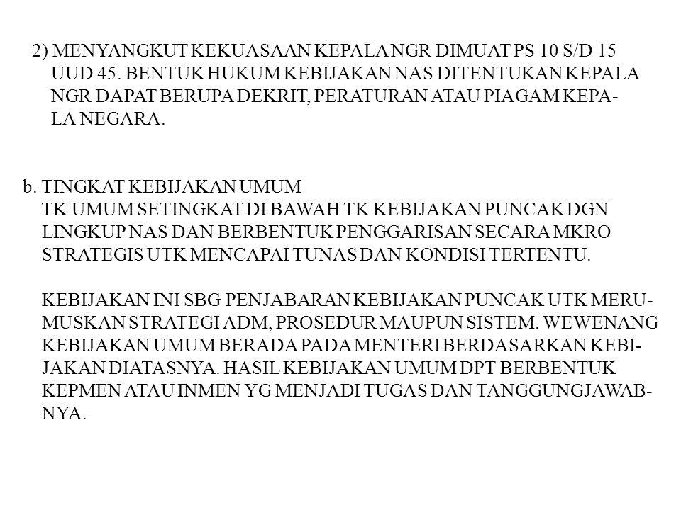 2) MENYANGKUT KEKUASAAN KEPALA NGR DIMUAT PS 10 S/D 15 UUD 45. BENTUK HUKUM KEBIJAKAN NAS DITENTUKAN KEPALA NGR DAPAT BERUPA DEKRIT, PERATURAN ATAU PI