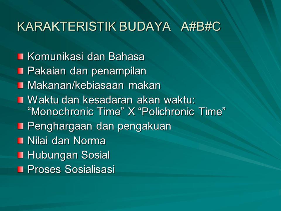 """KARAKTERISTIK BUDAYA A#B#C Komunikasi dan Bahasa Pakaian dan penampilan Makanan/kebiasaan makan Waktu dan kesadaran akan waktu: """"Monochronic Time"""" X """""""
