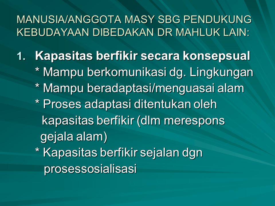 MANUSIA/ANGGOTA MASY SBG PENDUKUNG KEBUDAYAAN DIBEDAKAN DR MAHLUK LAIN: 1. Kapasitas berfikir secara konsepsual * Mampu berkomunikasi dg. Lingkungan *