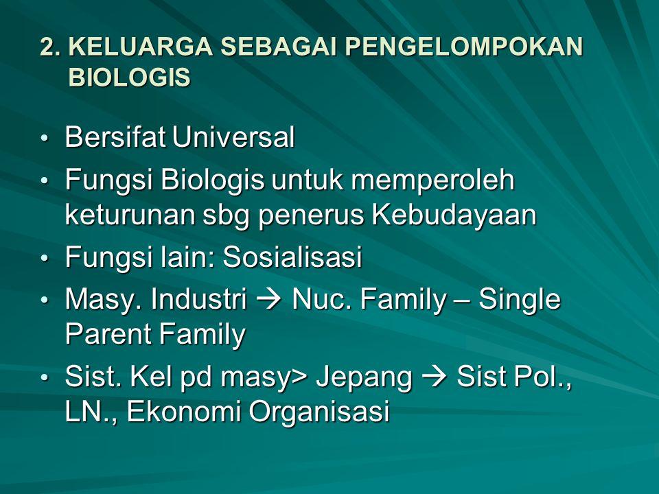 2. KELUARGA SEBAGAI PENGELOMPOKAN BIOLOGIS Bersifat Universal Bersifat Universal Fungsi Biologis untuk memperoleh keturunan sbg penerus Kebudayaan Fun