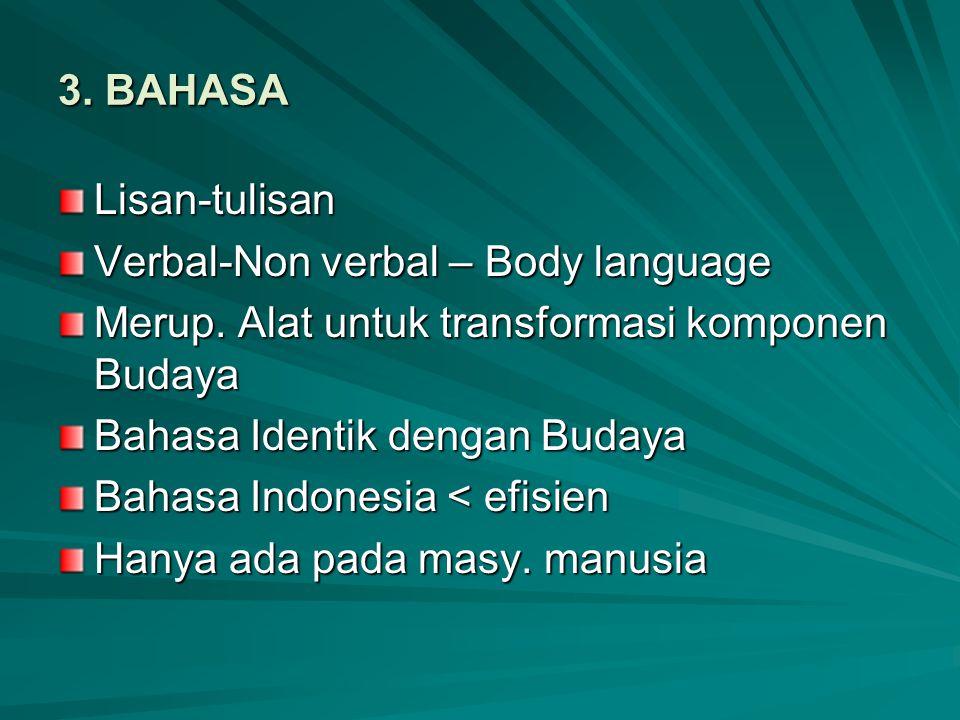 3. BAHASA Lisan-tulisan Verbal-Non verbal – Body language Merup. Alat untuk transformasi komponen Budaya Bahasa Identik dengan Budaya Bahasa Indonesia