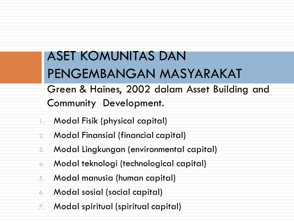 1. Modal Fisik (physical capital) 2. Modal Finansial (financial capital) 3. Modal Lingkungan (environmental capital) 4. Modal teknologi (technological