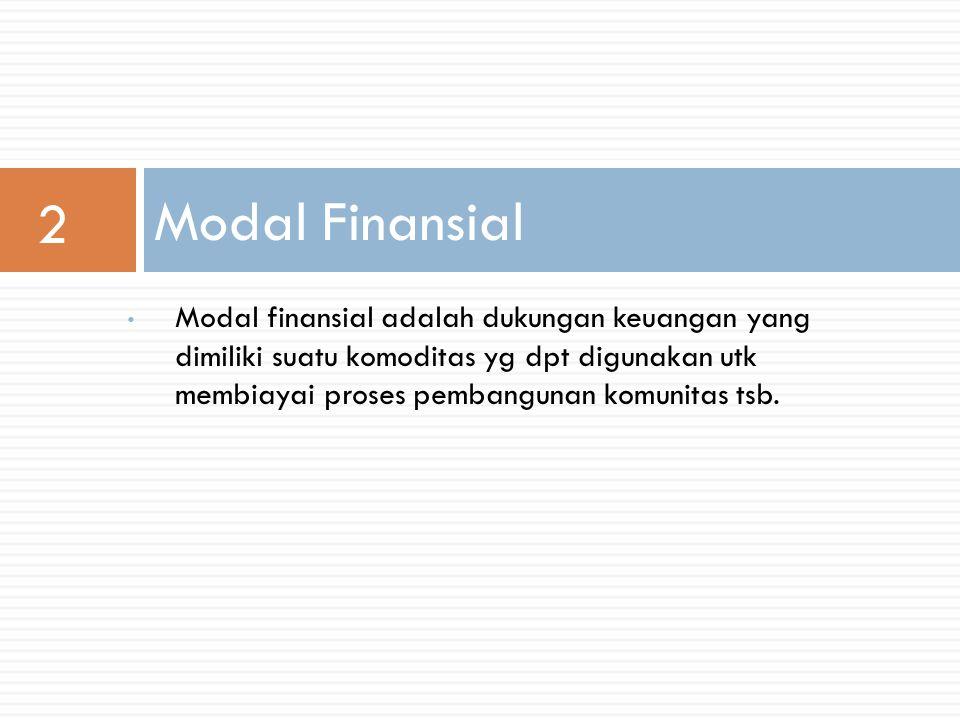 Modal finansial adalah dukungan keuangan yang dimiliki suatu komoditas yg dpt digunakan utk membiayai proses pembangunan komunitas tsb.