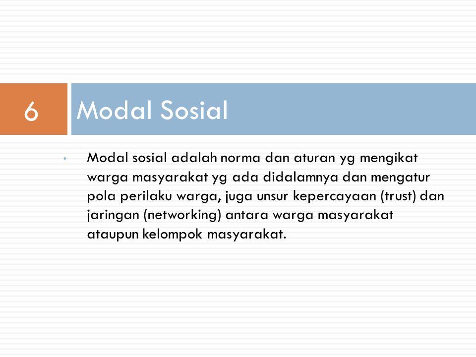 Modal sosial adalah norma dan aturan yg mengikat warga masyarakat yg ada didalamnya dan mengatur pola perilaku warga, juga unsur kepercayaan (trust) dan jaringan (networking) antara warga masyarakat ataupun kelompok masyarakat.
