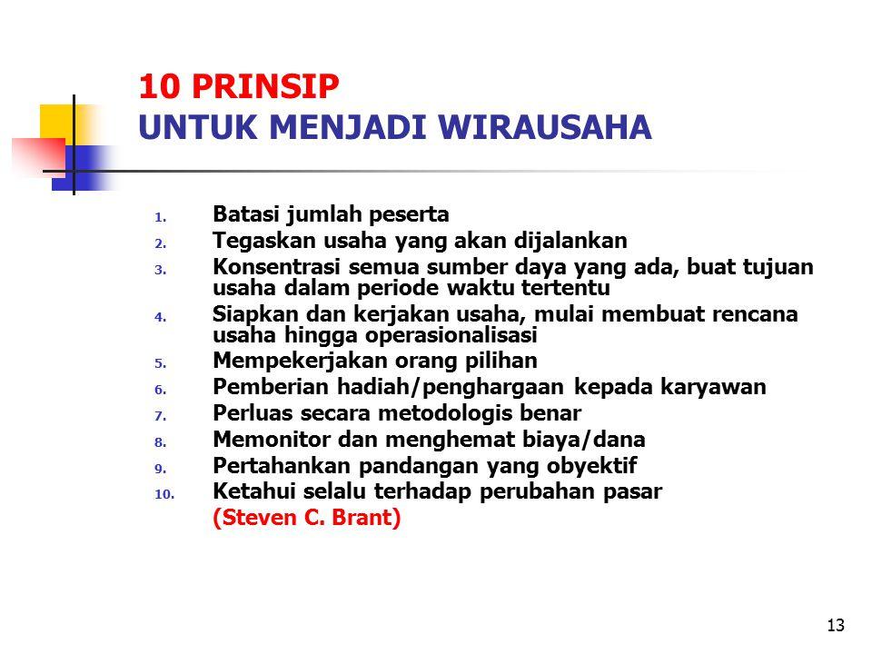 13 10 PRINSIP UNTUK MENJADI WIRAUSAHA 1. Batasi jumlah peserta 2. Tegaskan usaha yang akan dijalankan 3. Konsentrasi semua sumber daya yang ada, buat