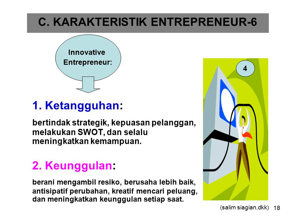 18 1. Ketangguhan: bertindak strategik, kepuasan pelanggan, melakukan SWOT, dan selalu meningkatkan kemampuan. 2. Keunggulan: berani mengambil resiko,