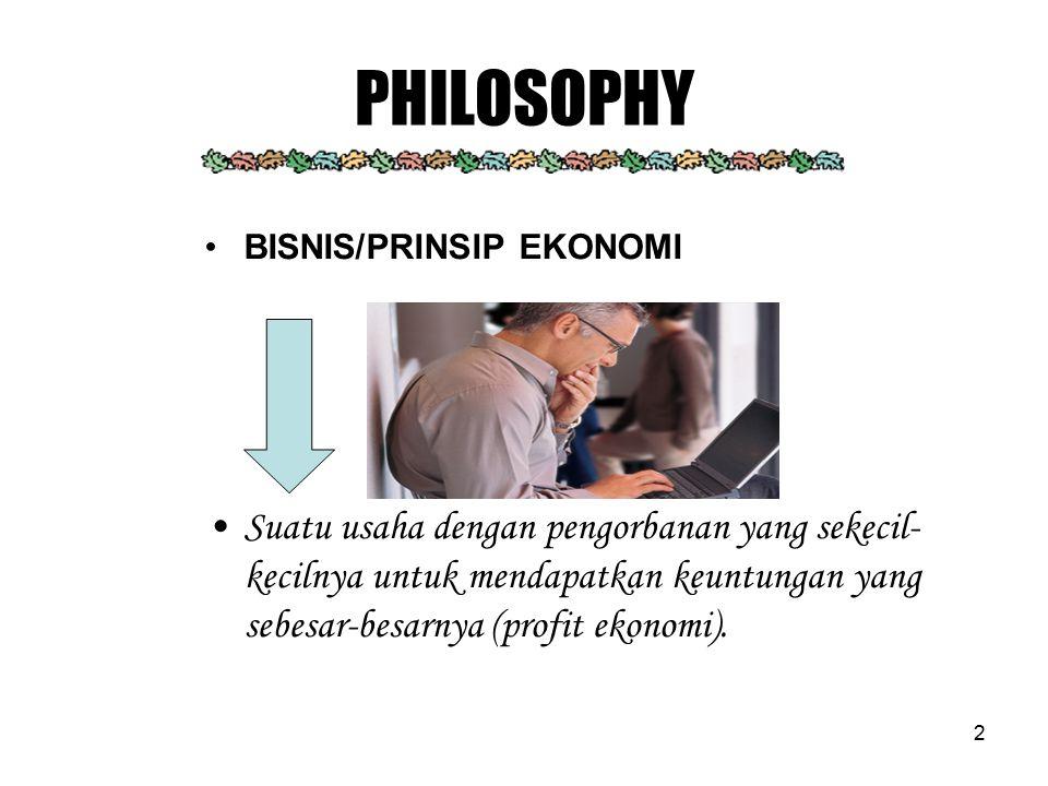 2 PHILOSOPHY BISNIS/PRINSIP EKONOMI Suatu usaha dengan pengorbanan yang sekecil- kecilnya untuk mendapatkan keuntungan yang sebesar-besarnya (profit e