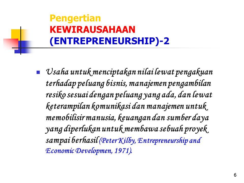 6 Pengertian KEWIRAUSAHAAN (ENTREPRENEURSHIP)-2 Usaha untuk menciptakan nilai lewat pengakuan terhadap peluang bisnis, manajemen pengambilan resiko se