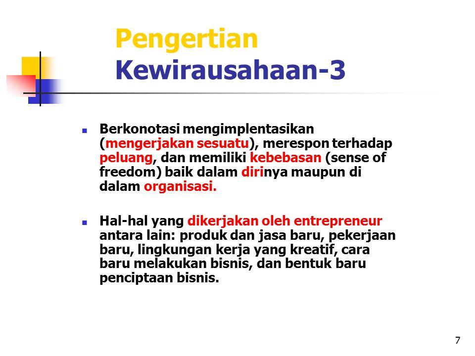 7 Pengertian Kewirausahaan-3 Berkonotasi mengimplentasikan (mengerjakan sesuatu), merespon terhadap peluang, dan memiliki kebebasan (sense of freedom)